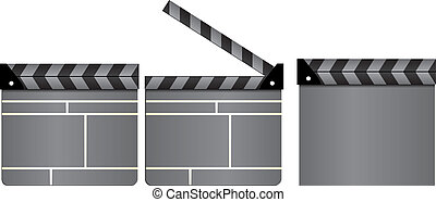 Set of gray cinema clapboards, movie clapper boards, closed and open, isolated on white background, vector illustration
