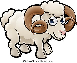 Ram Farm Animals Cartoon Character - A ram farm animals...