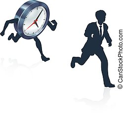 Clock Race Business Man Concept - A business man running...