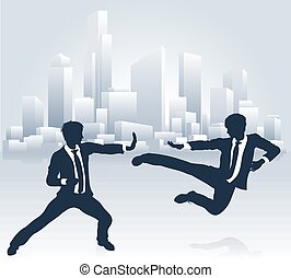 Business People Kung Fu Fighting - Conceptual business...