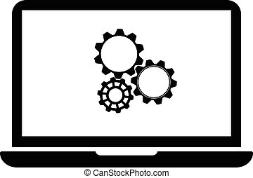 setting parameters, laptop icon, vector illustration. Flat...