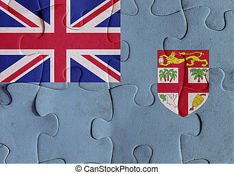 Republic of Fiji flag puzzle - Illustration of a flag of...