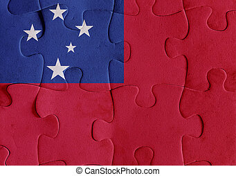 Independent State of Samoa flag puzzle - Illustration of a...