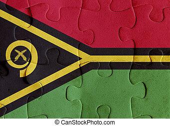 Vanuatu flag puzzle - Illustration of a flag of Vanuatu over...