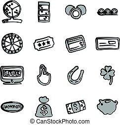 Lottery Icons Freehand 2 Color - This image is a...