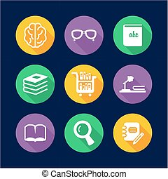 Library Icons Flat Design Circle - This image is a...