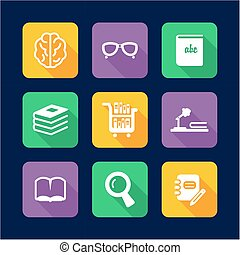 Library Icons Flat Design - This image is a illustration and...