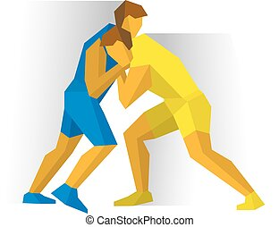 Greco-Roman Freestyle Wrestling. Two fighters competition -...