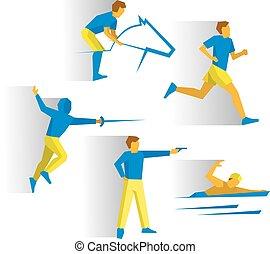 Modern Pentathlon - fencing, shooting, equestrian, marathon,...
