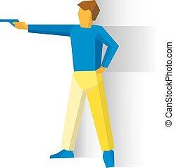 Shooter aiming a pistol. Man with a gun