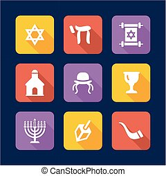 Judaism Icons Flat Design - This image is a illustration and...