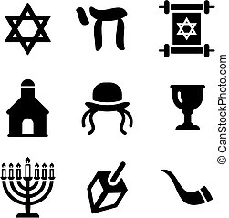 Judaism Icons - This image is a illustration and can be...