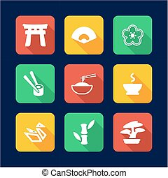 Japanese Culture Icons Flat Design - This image is a...