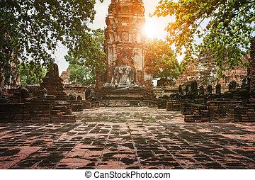 buddha statue in ayuthaya unesco world heritage site...
