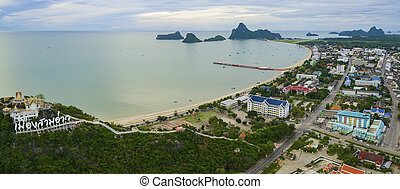 aerial view of prachuap khiri khan province southern of...