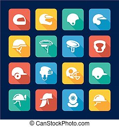 Helmet Icons Flat Design - This image is a illustration and...