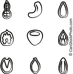 Healthy Snacks Icons Freehand - This image is a illustration...