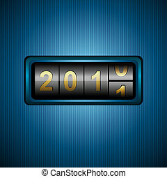 2011 in combination lock - illustration of welcoming 2011 in...