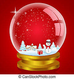 snow globe with landscape and snow man - illustration of...