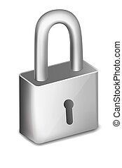 pad lock on an isolated background - illustration of pad...