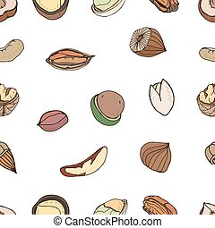 Nut seamless on white background. Hand drawn colorful...
