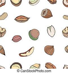 nuez, diferente, maní, colorido, patrón, nuez, almendra,...