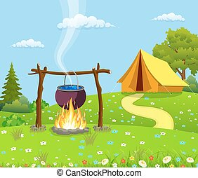Black camping pot over a bonfire. Tent and fire camp. Vector...