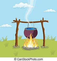 Black camping pot over a bonfire. Vector illustration in...