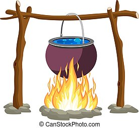 Black camping pot over a bonfire. Vector illustration in...