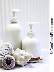 Vertical white bottles