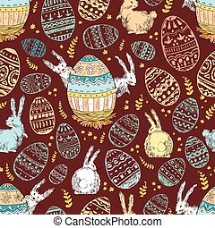 Handdrawn vector happy easter seamless pattern with big...