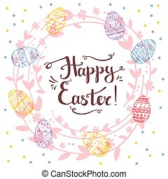 Handdrawn vector happy easter greeting card with handwritten...