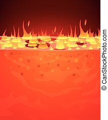 Burn flame fire vector background. Hell, lava or molten...