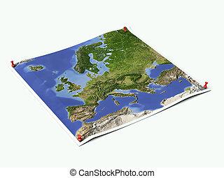 Europe on unfolded map sheet with thumbtacks.