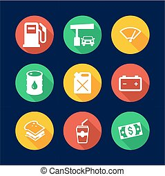 Gas Pump Icons Flat Design Circle - This image is a...