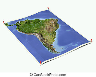 South America on unfolded map sheet with thumbtacks.