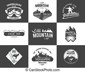 Set of Snowboarding extreme logo and label templates. Winter...