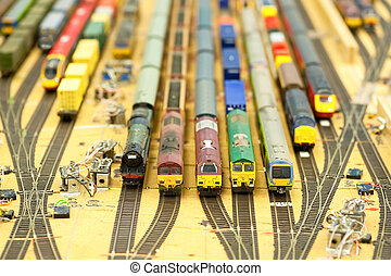 model trains - collection of model trains in an unfinished...