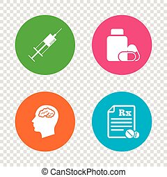 Medicine icons. Tablets bottle, brain, Rx. - Medicine icons....