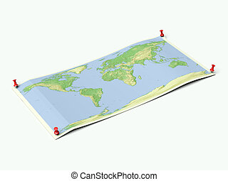 World map on unfolded map sheet