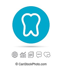 Tooth sign icon. Dental care symbol. Copy files, chat speech...