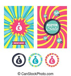 Money bag sign icon. Pound GBP currency. - Sale banners and...