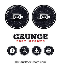 Mail delivery icon. Envelope symbol. Message. - Grunge post...
