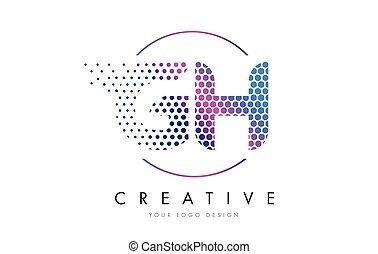 rosa, G, punteado, H, vector, diseño, carta, logotipo,...