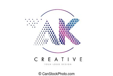 AK A K Pink Magenta Dotted Bubble Letter Logo Design Vector...