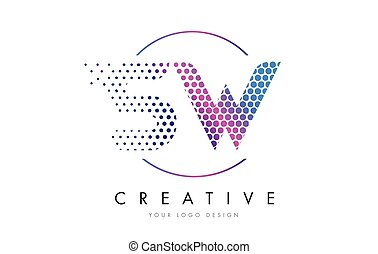 SW S W Pink Magenta Dotted Bubble Letter Logo Design Vector...