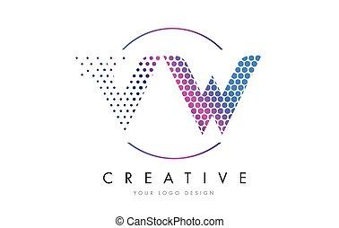 VW V W Pink Magenta Dotted Bubble Letter Logo Design Vector...