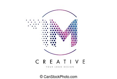 IM I M Pink Magenta Dotted Bubble Letter Logo Design Vector...