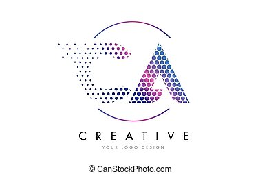 CA C A Pink Magenta Dotted Bubble Letter Logo Design Vector...