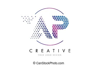 AP A P Pink Magenta Dotted Bubble Letter Logo Design Vector...